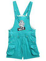 FirstClap Cotton Turquoise Short Length Cartoon Printed Dungaree for Kids (Boys & Girls)