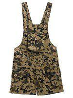 FirstClap Cotton Brown Short Length Military Printed Dungaree for Kids (Boys & Girls)