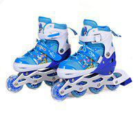 IRIS Kids 3 in 1 Convertible, Adjustable Inline Roller Skates for Beginners, Intermediates and Professionals, Size 3-6 UK (Blue)