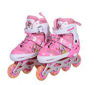 IRIS Kids 3 in 1 Convertible, Adjustable Inline Roller Skates for Beginners, Intermediates and Professionals, Size 6-8 UK (Pink)
