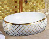 LOTUS Ceramic Modern Wash Basin | Premium Design | Table Oval Shape Size 60 x 40 x 15 | Glossy Finish Tabletop Sink | Suitable for Bathroom, Living Room, Washroom, Toilet Kitchen, G-109 (Only Basin)