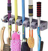 DE Mop and Broom Holder I Upgraded with Effective Strong Holding I 5 Slot Position with 6 Hanging Hooks I Garage Storage up to 11 Tools I Wall Mounted I Organize Ideas I Standard Size (Prime001)