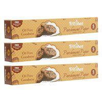 FRESHEE Food Wrapping Paper 5 Meters, Pack of 3, Parchment Paper Roll, Idle for Baking and Cooking, Freezer & Microwave Safe, Butter Paper for Food, Hygienic