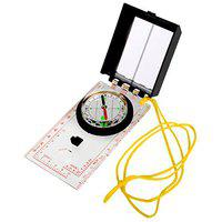 SJ Folding Multifunctional Mirror Compass Meter Magnifier Hiking Camping ABS White Color 1 Piece -18 A