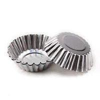 Taj Aluminium Cup Cake Tart Mould Jelly Mould for Oven- Set of 6 Pieces, 8.5 cm by 3.3 cm
