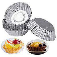 Taj Aluminium Cup Cake Tart Mould Jelly Mould for Oven- Set of 8 Pieces, 8.5 cm by 3.3 cm