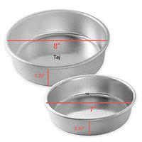 Taj Aluminium Cake Mould/Pan 7 and 8 Inch Diameter and 2.25 Inch Height Uses for Making 2 Different Cakes