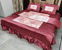 SD ENTERPRISES Vip Satin Double Bed King Size Wedding Bedding Set, 4 Piece - 2 Pillow Cover, 1 Beautiful Fitted Satin Bed Sheet, 1 Satin Ac Comforter Quilt/Razai (Cherry Red)