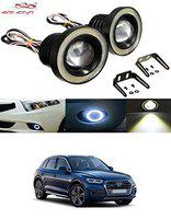 Auto Addict Car LED Fog Lights 3.5 High Power Led Projector Lamps Cob with White Angel Lights Eye Ring for Audi Q5
