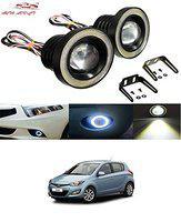 Auto Addict Car LED Fog Lights 3.5 High Power Led Projector Lamps Cob with White Angel Lights Eye Ring for Hyundai i20 Old (2008-2013)