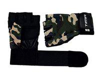 Tima Camo Gym Gloves with Wrist Support for Weight Training, Power-Lifting, Biking, Cycling Workout Gloves Weights Lifting Gloves for Blister and Callus Protection (Small)