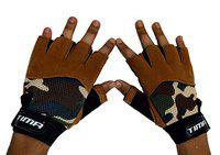 Tima Multipug Sports Gloves for Weight Training, Power-Lifting, Biking, Cycling Weights Lifting Gloves Protect Your Hands & Improve Your Grip Weightlifting Grips (Brown) (Medium)