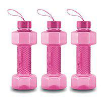 oliveware Plastic Dumbbell Water Bottle With Carry Strap, 750ml, Set of 6, Pink