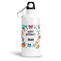 FurnishFantasy Aluminium White Sipper Bottle 600 ML - Best Gift for Happy Birthday, Name - Akash