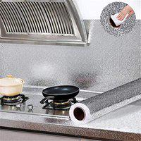 Ever Mall Aluminum Foil Self Adhesive DIY Kitchen Anti Oil Contact Paper Peel Stick Wall Stickers Waterproof Wallpaper Decal Stove Cabinets Counter Tops Sticker Drawer Shelve Liner Silver 2 mt.