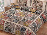 OM CRAFT VILLA OCV Printed Ajrak Paipin Multiple Design 100% Double Bedsheet (100x108 Inches) with 2 Pillow Covers(18x27 Inches)