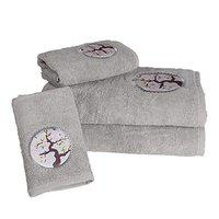 Rangoli Cotton Towel Set 2 Large Bath Towels for Men and Women and 2 Hand Towels, 550 GSM, (Set of 4, Style Orriro, Light Grey Color with Applique)