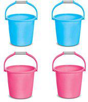 MILTON Plastic Sturdy Strong Bathroom Bucket for Home (Blue, Pink, 25 L) - Set of 4