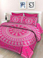 SheetKart Floral 144 TC Cotton Single Bedsheet with 1 Pillow Cover, Rose Pink