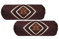 Lifestyle Present 170 tc Embroidery Cotton kundal Booster Cover Pack of 2 Size 16 * 32 inches (Brown)