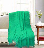 R Home Soft Handloom Cotton Throw Blanket, Vintage Washed, Sea Green Color, 51 x 67 Inch.