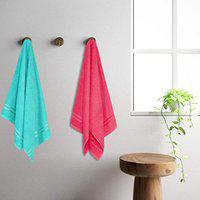 Welspun Quick Dry Sea Green and Coral Cotton Standard Bath Towel 70cmX1.50m (2Pc, 1-Coral and 1-Sea Green)