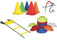 APG 9 Inch Cones Pack 6,10 Space Markers and 4 Meter Ladder Agility Combos
