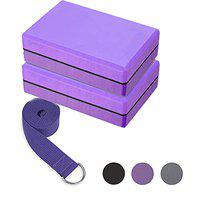 Serveuttam Yoga Block (2 PC)-High Density EVA Foam Block to Support and Deepen Poses, Improve Strength and Aid Balance and Flexibility - Lightweight, Odor Resistant and Moisture-Proof with Yoga Belt