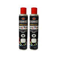 CARMATE Touch Up Spray Paint - Silver and Gloss Black Quick Dry Ready to Use Aerosol Spray Paint for Car Bike Spray Painting Home & Furniture 440 ML - Each Can, Pack of 2