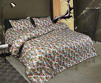 OCV Presents Beautiful Exclusive Printed King Size Double Bedsheet 100% Fast Color & 100% Pure Twil South Cotton with 2 Pillow Covers