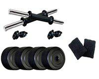 SPANCO Home Gym with Weight Plates, Dumbell Rods, Sweatband (Combo with 8 Kg.)