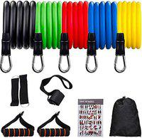House of Quirk 11 Pcs Portable Fitness Exercise Bands with Handles, Training Tubes with Anchor and Ankle Straps for Resistance Training, Home Workout and Gym Fitness