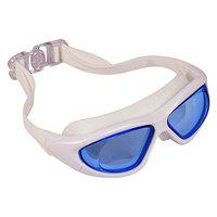 Arrowmax Wide lense Silicone Swimming Goggle - Anti Fog lense Promotes Visibility Under Water   Ideal for Men, Women and Kids   Comfortable and Skin Friendly Material - ASG-9100 (White)
