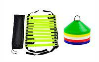 L'AVENIR 4meter Adjustable Agility/Speed Ladder + 50pcs. Multicolor Space Markers/Saucer Cone with Marker Stand for Football/Training/Speed/Stamina Building