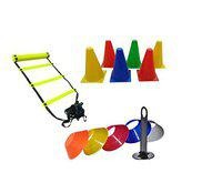 L'AVENIR 4meter Adjustable Agility/Speed Ladder + 6 Field Cone Markers + 20pcs. Multicolor Space Markers/Saucer Cone with Marker Stand for Football/Training/Speed/Stamina Building