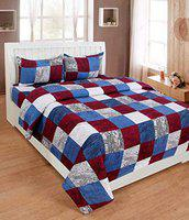 JK Handloom Glace Cotton 3D Printed King Size Double Bedsheet (1 Bedsheet and 2 Pillow Covers)(90x 90)(Multi)