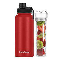 InstaCuppa Thermos Steel Fruit Infuser Water Bottle 1 Litre, Tritan Infusion Unit, Detox Infused Recipe eBook, 2 Lids, Red