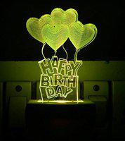 UKANI 3D Illusion Love Baloon Happy Birthday Design Night Lamp with 7 Color Changing Light for Birthday Gift (Size 3 Inch)