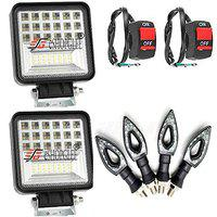 Eshopglee 42LED Spot LED Flood Beam Lights Square Off-road Bulb Lamp Light Fog Lighting For Motorcycle Bikes/Cars/Jeep/SUV/Truck/ATV/Vehicles 2 Lights 2 On-Off switches 4 Leaf Indicater
