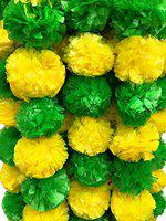 Decoration Craft Artificial Marigold Flower (Green & Yellow, 5 Pieces)