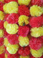 Decoration Craft Artificial Marigold Flower (Red & Yellow, 5 Pieces)