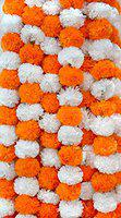 DECORATION CRAFT Pack of 5 Pcs. of Artificial Marigold Flower Garlands 5 Feet Long (Orange & Off White)
