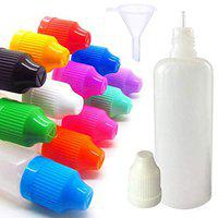 DIY Crafts 12 Pieces 100 Ml LDPE Plastic Thin Tip Droppers Empty Bottle with Mini Funnel Squeezable Bottle (Design # No 2, Pack of 12 Pcs)