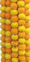 DECORATION CRAFT Artificial Marigold Flower Garlands 5 Feet Long for Parties Marigold Theme Decorations Home Decoration Photo Prop Diwali Festival Decoration (5, Orange and Yellow)