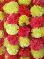 DECORATION CRAFT Artificial Marigold Flower Garlands 5 Feet Long for Parties Marigold Theme Decorations Home Decoration Photo Prop Diwali Festival Decoration (5, Red and Yellow)