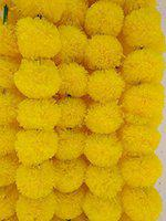 DECORATION CRAFT Artificial Marigold Flower Garlands 5 Feet Long for Parties Marigold Theme Decorations Home Decoration Photo Prop Diwali Festival Decoration (5, Lemon Yellow)