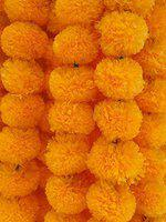DECORATION CRAFT Artificial Marigold Flower Garlands 5 Feet Long for Parties Marigold Theme Decorations Home Decoration Photo Prop Diwali Festival Decoration (5, Orange (Mango Yellow))