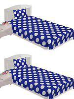 Spangle 144 TC Micro Fibre Printed Polka Dots Single Bedsheet with Pillow Cover Set of 2 Bedsheet Combo (Blue & White)