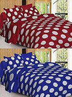 Spangle 144 TC Designer Printed Polyester Polka Dots Set of 2 King Bedsheet Combo with Pillow Covers (Maroon & Blue)