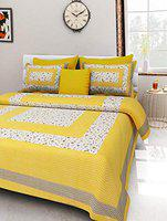 YonoCart 100% Cotton Traditional Size 90*100 inch Double Bedsheet with 1 Bed Sheet and 2 Pillow Multi Color (Yellow)